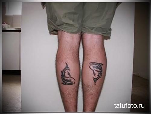 shark tattoo on calf 7