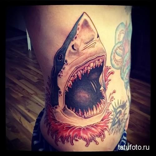 shark tattoo on the side 12