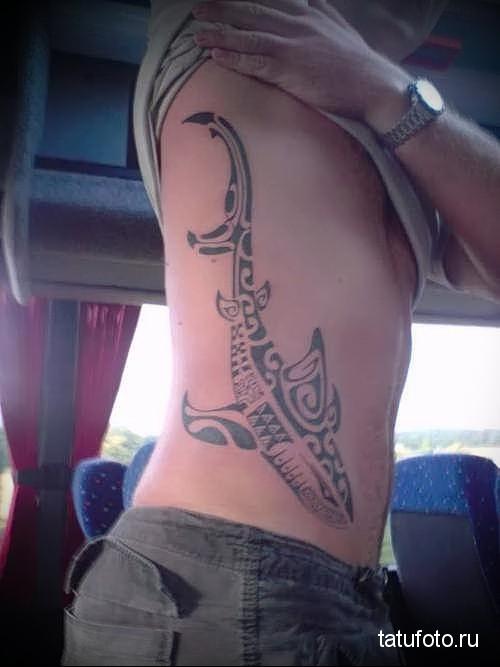 shark tattoo on the side 5