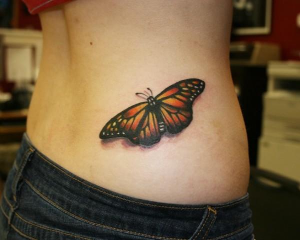 тату бабочка на поясницу для девушки