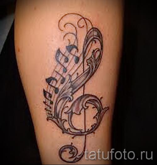 тату скрипичный ключ и ноты 5 фото