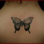 тату с бабочкой между лопаток - вариант для девушки