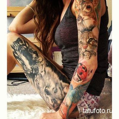 tattoo on his leg animals 1