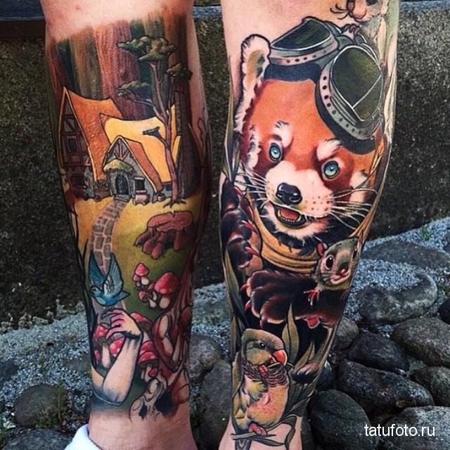 tattoo on his leg animals 3