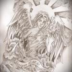 Девушка ангел и лента с надписью - ТАТУ РУКАВА ЭСКИЗ