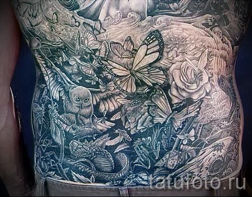 Тату насекомые - в большой татуировке на теле