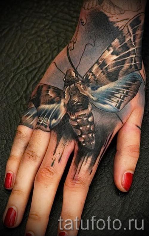 Тату насекомые - красивый мотылек на руке