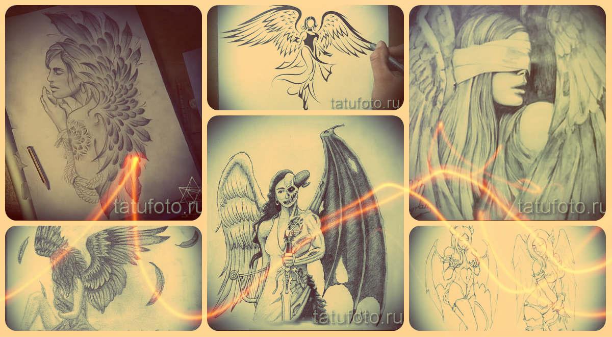 Эскизы тату ангел - варианты рисунков для татуировки