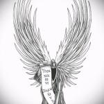 Эскиз тату ангелов хранителей - ангел читает свиток