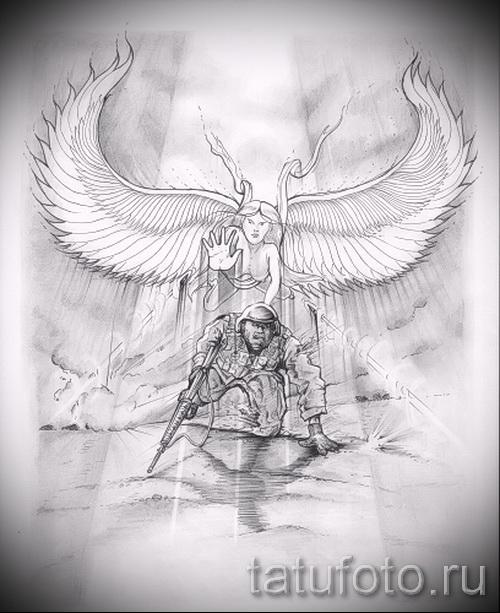 Эскиз тату ангелов хранителей - вариант с ангелом который защищает солдата