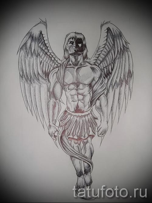 Эскиз тату ангелов хранителей - крепкий мужчина воин