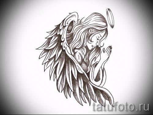 Эскиз тату ангелов хранителей - молящаяся девушка с нимбом над головой