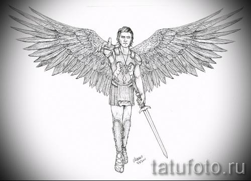 Эскиз тату ангелов хранителей - мужчина с мечом