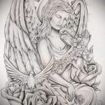 Эскиз тату ангелов хранителей с цветами и голубями
