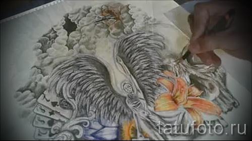 Эскиз тату ангелов хранителей - с цветами и игральными картами - работа от руки