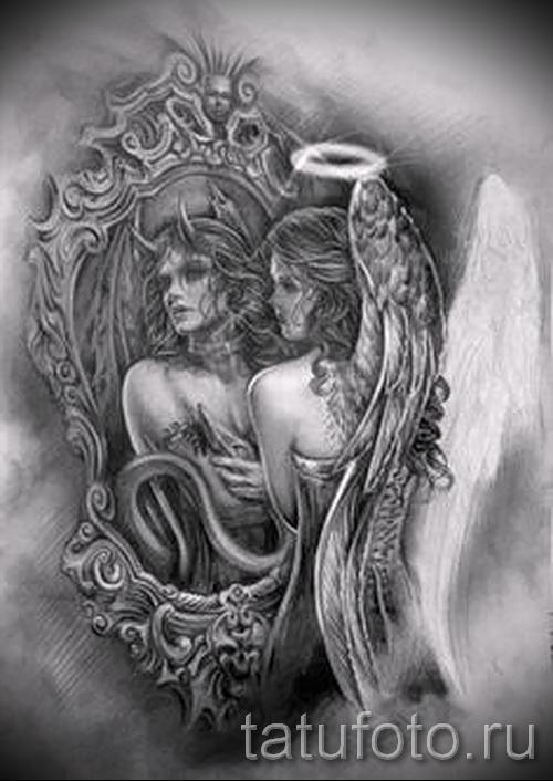 Эскиз тату ангелы и демоны - отражение в зеркале все меняет