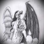 Эскиз тату ангелы и демоны - полу демон полу ангел с мечом в руке