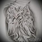 Эскиз тату ангел - вариант мужчины с копьем - пример