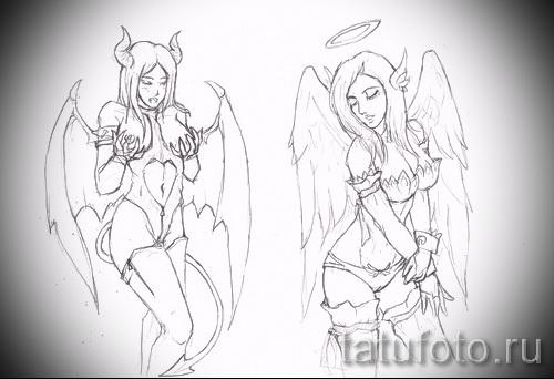 Эскиз тату ангел - две сексуально одетые девушки