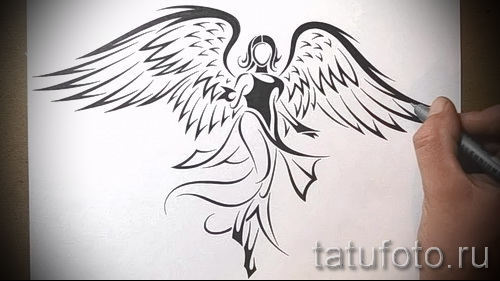 Эскиз тату ангел - девушка - выполнен в стиле трайбл