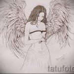 Эскиз тату ангел - девушка в вечернем платье с киндалом в руке
