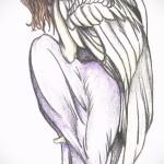 Эскиз тату ангел - девушка в длинном платье