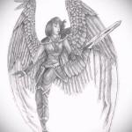 Эскиз тату ангел - девушка в доспехах и с оружием