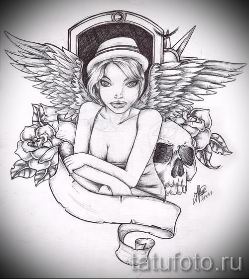 Эскиз тату ангел - девушка в шляпке