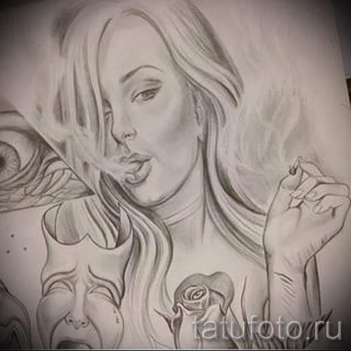 Эскиз тату ангел - девушка курит и выпускает дым