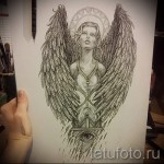 Эскиз тату ангел - девушка - песочные часы и глаз