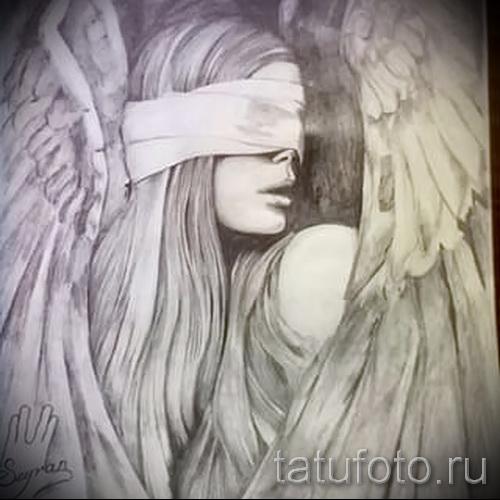 Эскиз тату ангел - девушка с завязанными глазами