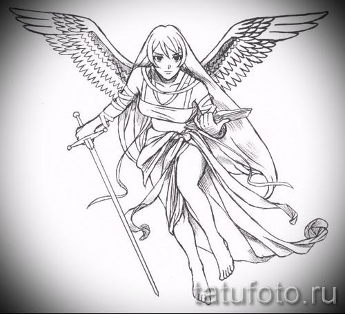 Эскиз тату ангел - девушка с книгой и мечом