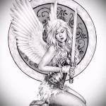 Эскиз тату ангел - девушка с мечом и щитом