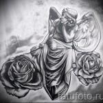 Эскиз тату ангел и цветы - облака