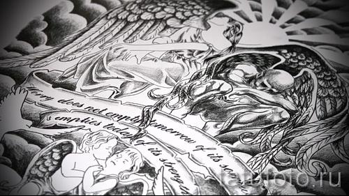 Эскиз тату ангел - классный вариант нарисованный на листе