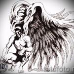 Эскиз тату ангел - крепкий мужчина и очень большие крылья