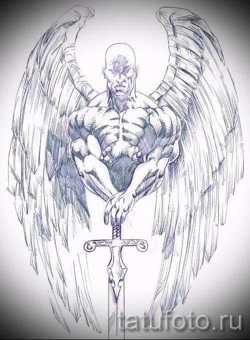 Эскиз тату ангел - лысый мужик с мечом