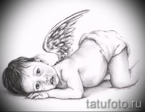 Эскиз тату ангел - маленький ребенок - портретное сходство