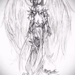 Эскиз тату ангел - манга