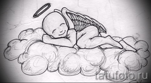 Эскиз тату ангел - младенец на облаках