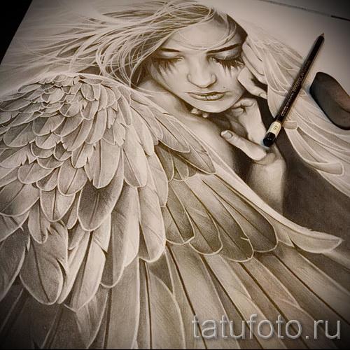 Эскиз тату ангел - плачущая девушка