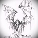 Эскиз тату ангел со странными крыльями