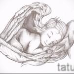 Эскиз тату ангел - спящий младенец