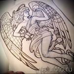 Эскиз тату ангел с черепом в руке
