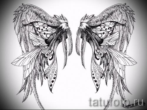 Эскиз тату крылья ангела - прикольный вариант