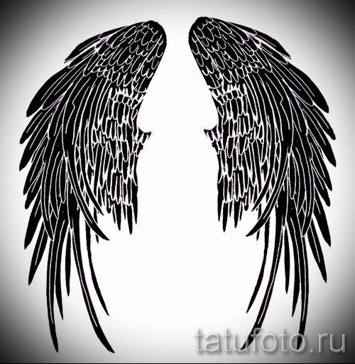 Эскиз тату крылья ангела - черный трайбл вариант