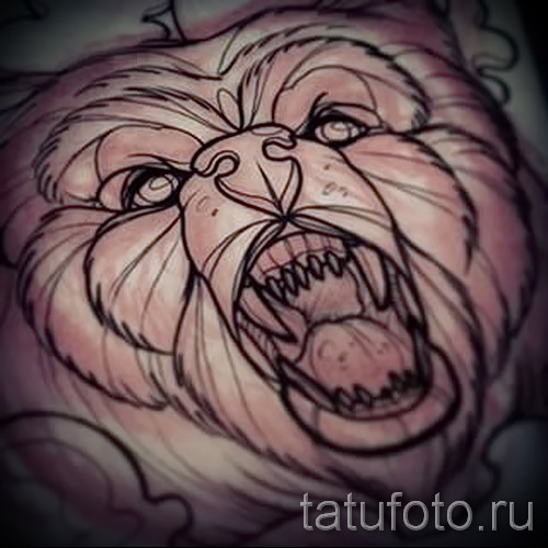 Эскиз тату медведь 11