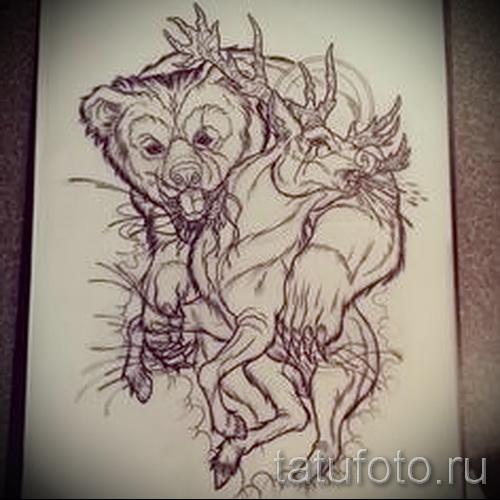 Эскиз тату медведь 14