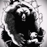 Эскиз тату медведь 16