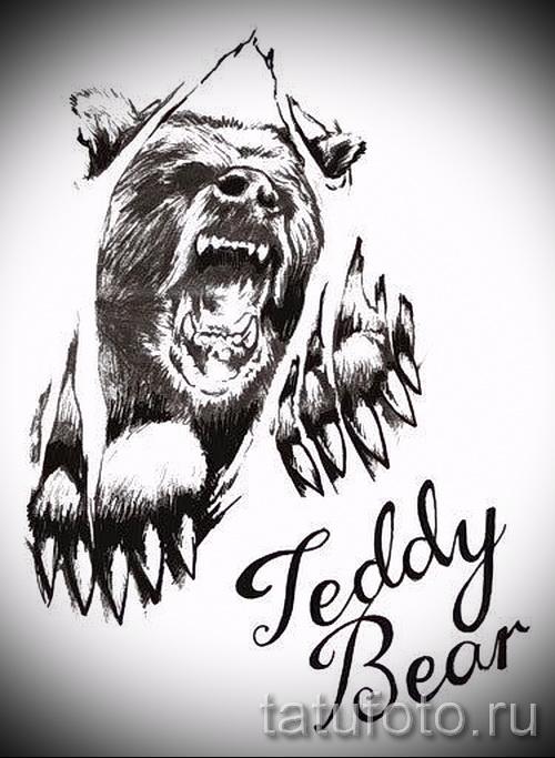 Эскиз тату медведь 17